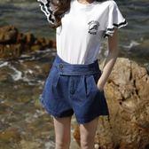 2018新款韓版學生a字chic寬鬆短褲高腰闊腿牛仔短褲女 夏熱褲   初見居家