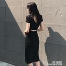 露背洋装 2021夏季新款性感露背中長款顯瘦氣質修身包臀洋裝港味時尚女裝