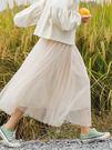 紗裙百褶裙顯瘦a字仙女裙高腰中長款網紗半身裙子女夏季裝