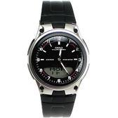 AW-80-1A CASIO卡西歐 指針+數字雙顯休閒錶─世界時間(黑-膠帶) 手錶 時間玩家 AW-80-1A