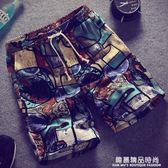 男士沙灘褲夏季花短褲寬鬆大褲衩男生休閒褲夏天五分褲棉中褲子潮