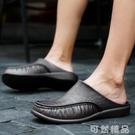 半拖鞋夏季男士外穿拖鞋男軟底涼鞋辦公半拖鞋無後跟英倫懶人一腳蹬皮鞋