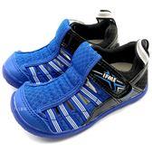 《7+1童鞋》中童 日本 IFME 透氣 魔鬼氈 排水孔 輕量 機能 水涼鞋 C473  藍色