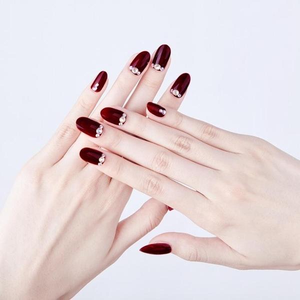 光療感指甲油紅色咖炫彩顯白氣質新娘穿戴可拆卸美甲成品假指甲貼片套盒裝配外套皮衣風衣