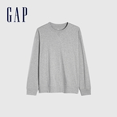 Gap男裝 純棉寬鬆圓領長袖T恤 842332-淺灰色