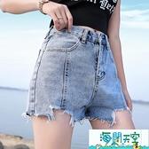 牛仔短褲 韓版寬鬆高腰褲a字闊腿熱褲 【海闊天空】