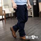 保暖內磨毛伸縮中直筒牛仔褲(深藍)●樂活衣庫【6757】
