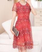 黑五好物節 年輕媽媽夏裝過膝高貴連身裙中年女40-50歲中老年人短袖夏季裙子