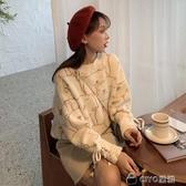 秋季寬鬆慵懶風毛衣女綁帶減齡長袖針織衫套頭上衣ins潮 ciyo黛雅