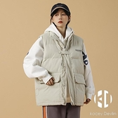 棉服棉衣日系復古素色立領工裝馬甲外套女寬鬆情侶保暖背心棉襖【Kacey Devlin】