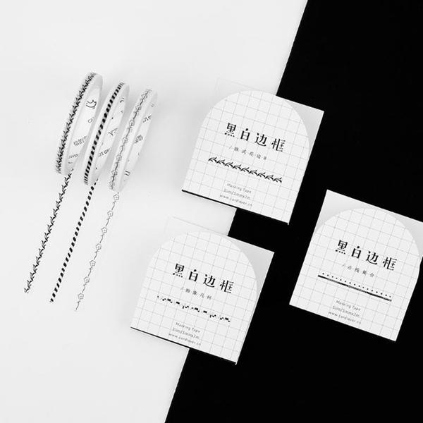[拉拉百貨]黑白邊框 紙膠帶 手帳貼紙 信的戀人 裝飾 包裝 禮品