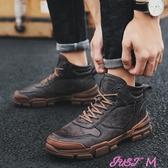 馬丁靴冬季潮男士高筒鞋英倫黑色潮流中筒鞋子保暖工裝鞋春季新品
