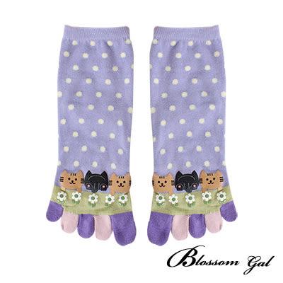 Blossom Gal 貓咪點點透氣舒爽立體腳跟足踝五指襪/五趾襪(共3色)