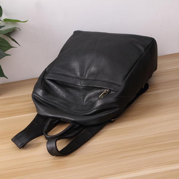 【Solomon 原創設計皮件】真皮手工縫製皮革 黑色 後背包