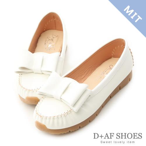 豆豆鞋 D+AF 甜美俏皮.MIT大蝴蝶結莫卡辛健走鞋*白