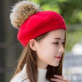 貝雷帽女秋冬天日系百搭甜美可愛韓版羊毛呢蓓蕾帽休閒潮 zm7674『男人範』