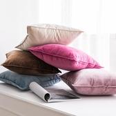 北歐天鵝絨鎖邊抱枕沙髮靠墊客廳簡約素色繫樣板房抱枕套家用靠墊雙十二