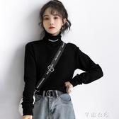 冬季新款復古港風黑色高領打底衫女字母長袖內搭上衣 七夕禮物