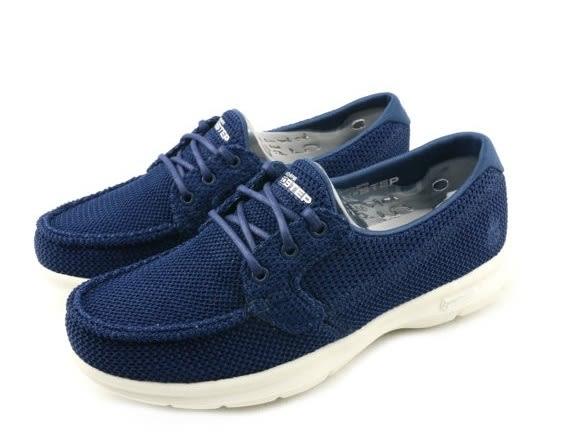 SKECHERS Go Step Deck 藍色編織 帆船鞋 休閒 女 14414NVY【 胖媛的店 】