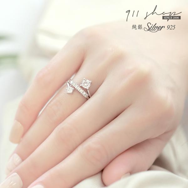 Glows.925純銀閃耀三層次排鑽開口式戒指【s316】911 SHOP
