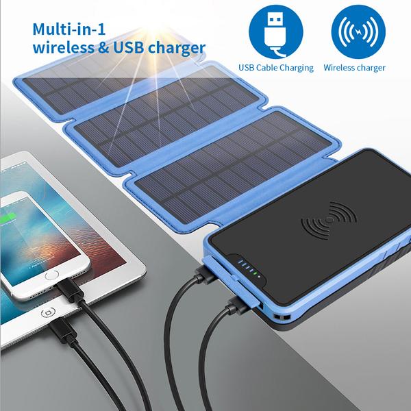 行動電源 太陽能無線充電寶20000毫安大容量戶外防水行動電源學生戶外折疊「時尚彩紅屋」