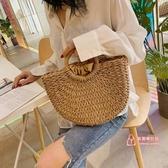 編織包 手工編織包包女包新款2019網紅同款夏天沙灘包時尚復古手提草編包 2色
