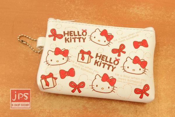 Hello Kitty 凱蒂貓 票卡零錢包 蝴蝶結 滿版 白 KRT-667589