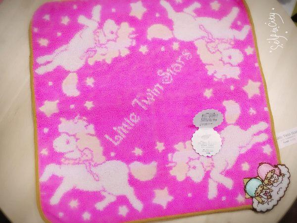 KIKILALA 雙子星 經典粉嫩圖案棉質小方巾/小毛巾 粉紅獨角獸款 該該貝比日本精品 ☆
