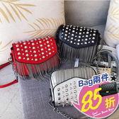 包任選2件85折側背包龐克搖滾風鉚釘流蘇裝飾側背包小方包【08G-T0130】