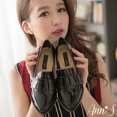 Ann'S時髦復古-韓系粗跟紳士休閒便鞋 漆皮黑