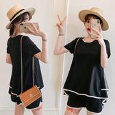 短袖T恤短褲孕婦套裝大尺碼9392#夏新款女裝胖mm運動套裝裙顯瘦減齡兩件套(F4056)