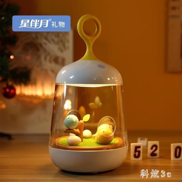 溫馨鳥兒音樂盒八音盒小夜燈兒童女生日禮物送小女孩JA7954『科炫3C』