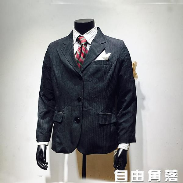 外貿原單男士條紋西服 商務休閒條紋西裝外套上衣日系潮男小西裝 自由角落