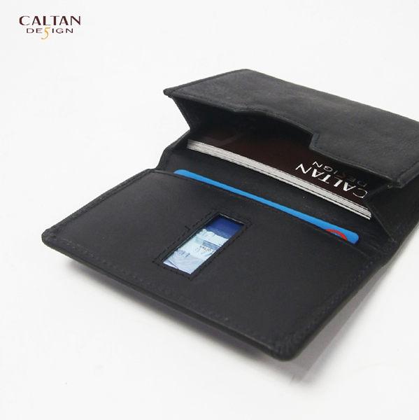 牛皮/名片夾【CALTAN】簡約橫式名片卡片夾-1801ht-bk