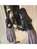 新款pu皮衣女超短款修身原宿皮夾克韓版顯瘦高腰小外套潮