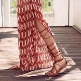 夏季后拉鏈綁腿高筒系帶露趾平跟羅馬涼鞋女交叉綁帶長筒涼靴度假
