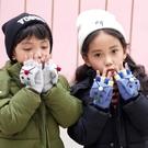 兒童手套冬季翻蓋兩用寶寶保暖手套男女童毛線手套半指露指手套