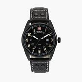 【SWISS MILITARY HANOWA】瑞士錶簡約素面日期真皮錶-時尚黑/SM13212JSBDB.H02/台灣總代理公司貨兩年保固