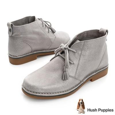 Hush Puppies Cyra Catelyn修飾系列 磨砂感休閒 女短踝靴-金屬灰色