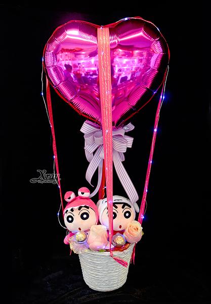小新變裝走路玩偶幸福熱氣球,金莎花束/情人節禮物/婚禮佈置/派對慶生,節慶王【Y030014】