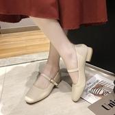 瑪麗珍鞋2020春季新款復古奶奶鞋粗跟瑪麗珍女鞋豆豆鞋低跟單鞋配裙子的鞋 JUST M
