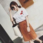 春夏裝韓版學生短袖t恤半身裙子兩件式女時髦網紅套裝裙 糖果時尚
