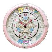 小禮堂 Sanrio大集合 圓形音樂壁掛鐘 音樂鐘 時鐘 壁鐘 (粉白 60週年) 4517228-04172