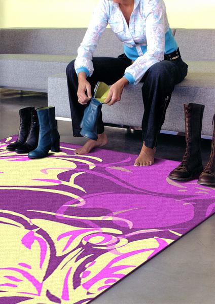 【范登伯格】奧瓦柔亮絲質感地毯-蝶葉(粉紫)-100x140