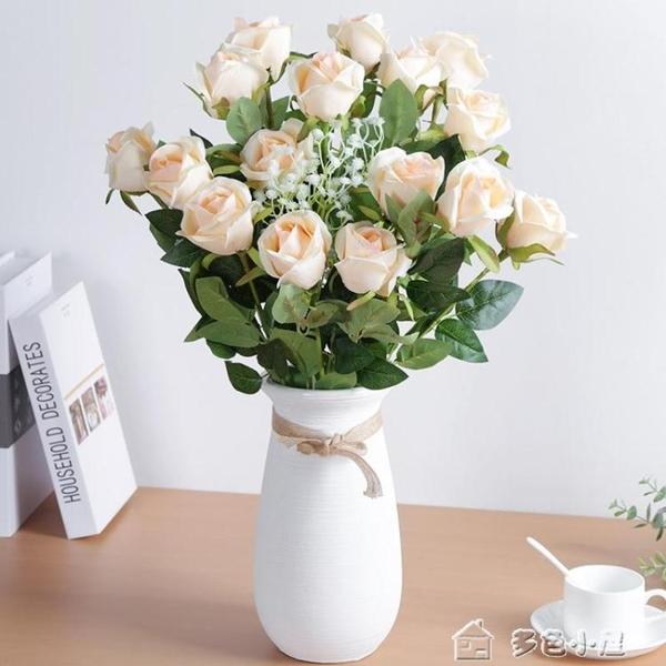仿真花仿真玫瑰花客廳裝飾情人節花束餐桌單支假花干花擺件塑料插花擺 多色小屋YXS