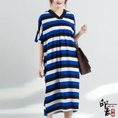 大尺碼洋裝韓版大尺碼女中長款時尚寬鬆條紋棉麻連身裙