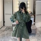 VK精品服飾 韓國風復古燈芯絨泡泡袖腰帶襯衫長袖洋裝