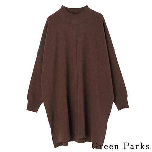 「Hot item」微立領直線造型剪裁針織上衣 - Green Parks