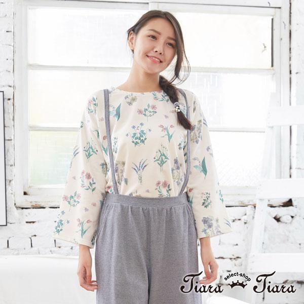 【Tiara Tiara】百貨同步aw 日系繪花長短版開衩長袖上衣(白/藍/黃)