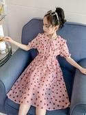 女童連衣裙 女童波點連衣裙夏裝新款韓版兒童夏季裙子女大童洋氣雪紡長裙 瑪麗蘇